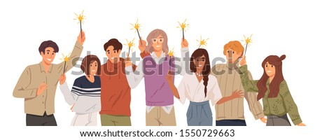 Group of young people holding burning sparklers on white background. Friends celebrate Christmas together. Happy men and women on New Year corporate party. Vector illustration in flat cartoon style.