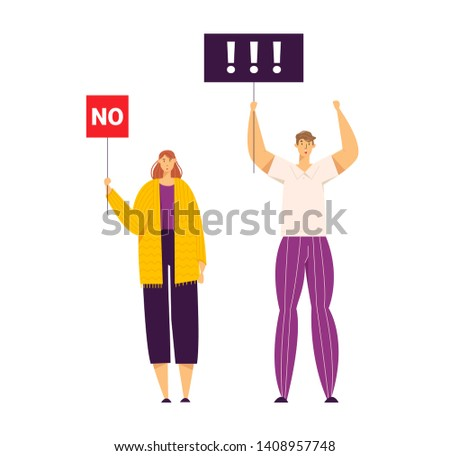 Group of Young People Holding Protest Signs on the Strike. Crowd Protesting Characters with Placards on Demonstration, Strike Action, Political Manifestation. Vector flat illustration
