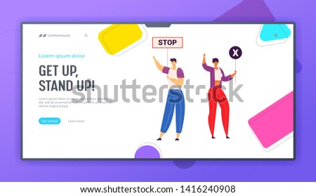 Group of Young People Holding Protest Signs on the Strike Landing Page. Crowd Protesting Characters with Placards on Demonstration, Strike Action, Political Picket Web Banner. Vector flat illustration