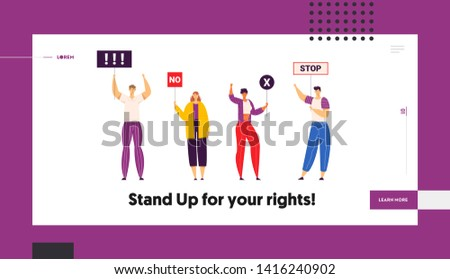 Group of Young People Holding Protest Signs on the Strike Landing Page Template. Crowd Protesting Characters with Placards on Demonstration, Strike Action, Political Rally Banner. Vector illustration