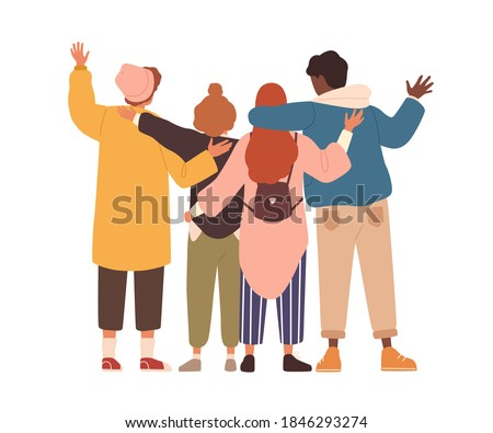 Group of young people hugging and waving hands. Students or team standing together. Friends support and unity concept. Flat vector cartoon isolated illustration on white background