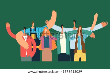 Group of young people hugging and waving. Happy students isolated on green background. Flat cartoon vector illustratio