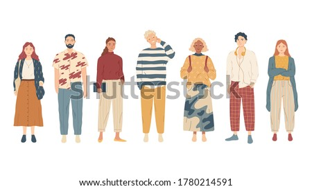 Group of young people in casual clothes.