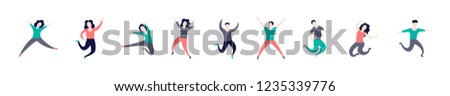 Group of young people jumping isolated on white background. Happy positive young men and women rejoicing together. Colored vector illustration in flat cartoon style #1235339776