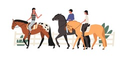 Group of young people riding horse at racecourse. Couple at equestrian school with instructor. Scene of horseriding or jockey training lesson. Flat vector cartoon illustration isolated on white