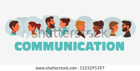 Group of young people speaking together. Male and female faces avatars and the word 'communication' with dialog speech bubbles. Communication, teamwork and connection vector concept