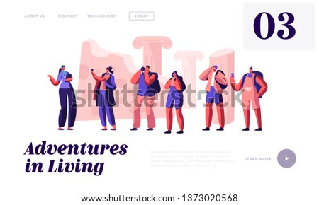 Group of Young People with Photo Camera on Excursion with Guide Abroad. Traveling Male and Female Tourists Visiting Sightseeing Website Landing Page, Web Page. Cartoon Flat Vector Illustration, Banner