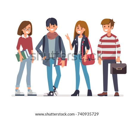 group of young students flat