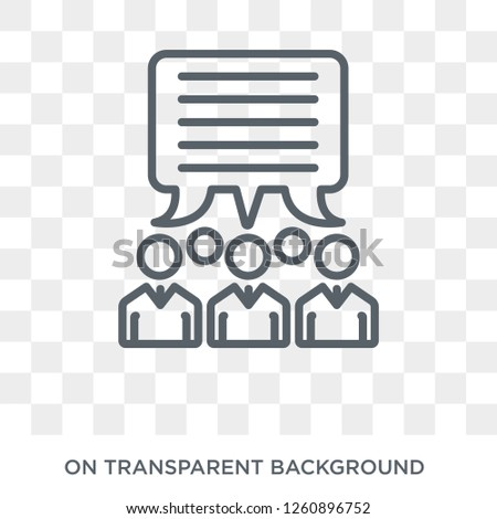 group opinion icon. Trendy flat vector group opinion icon on transparent background from general  collection. High quality filled group opinion symbol use for web and mobile