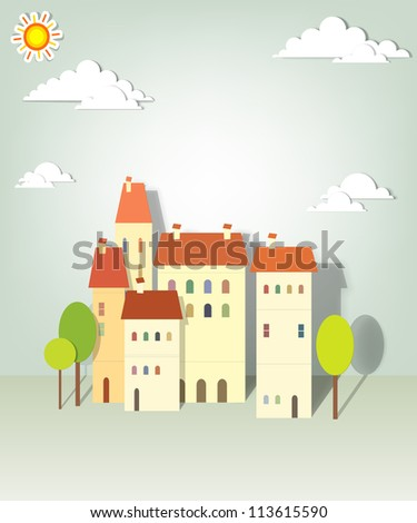 group paper townhouses - stock vector