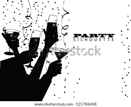 Group Party Toast Silhouette EPS 8 vector no open shapes or paths.