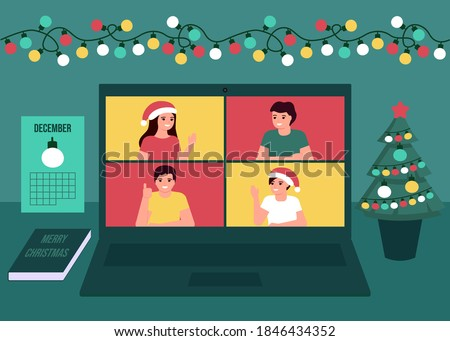 Group people communication online together on Christmas holiday. Decoration fir, lightbulbs desktop and greeting Christmas and New Year. Video call on laptop, virtual meeting friends. Vector flat
