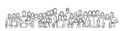 Group people. Crowd. Hand drawn vector line.