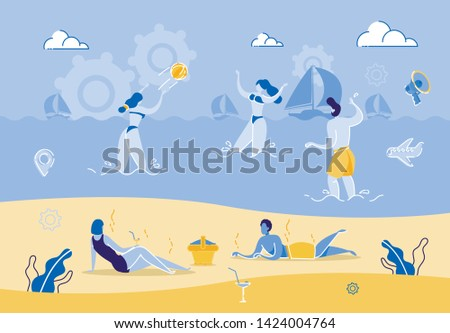 group people relaxing on beach