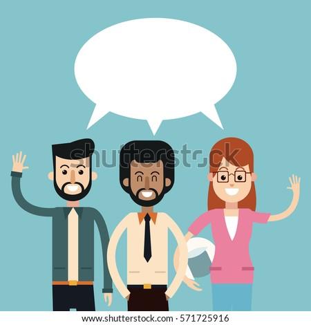 group people talking dialog bubble speech