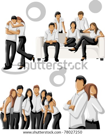 Group people wearing white clothes