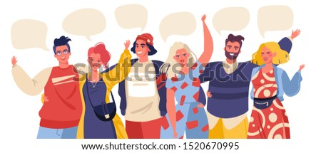 Group portrait of cute joyful friends. Smiling young people student  standing together, embracing each other, waving hands. Happy flat cartoon people characters isolated on white background.