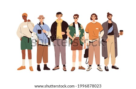 Group portrait of fashion men in modern trendy outfits. Young people wearing stylish casual summer clothes. Colored flat graphic vector illustration of fashionable man isolated on white background