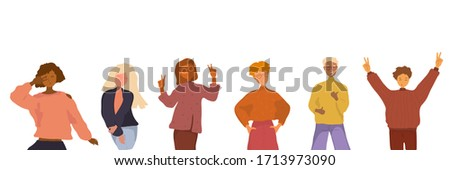 Group portrait of friends. Smiling teenagers standing together. Diversity concept. Young happy men and woman standng together. Cartoon flat vector illusatration in hand drawn style.