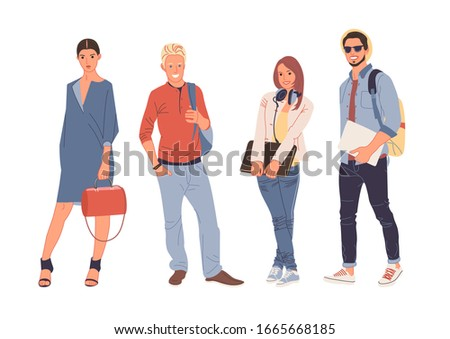 Group portrait of smiling teenage boys and girls or school friends standing together, full length. Happy students isolated on white background. Flat cartoon vector illustration.