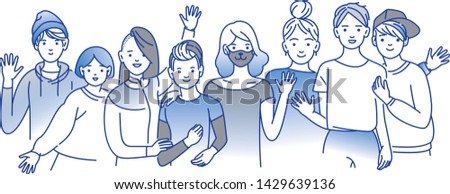 Group portrait of smiling teenage boys and girls standing together, embracing each other, waving hands. Happy students isolated on white background. Flat line art vector illustration.