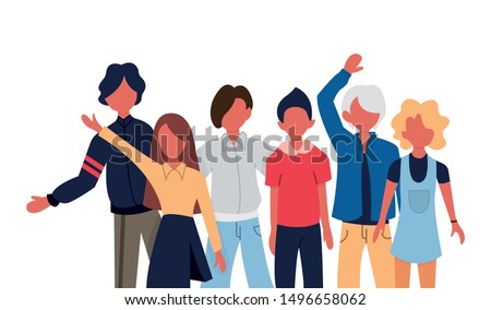 Group portrait of teenage boys and girls or school friends standing together, embracing each other, waving hands. Happy students isolated on white background. Flat cartoon vector illustration.