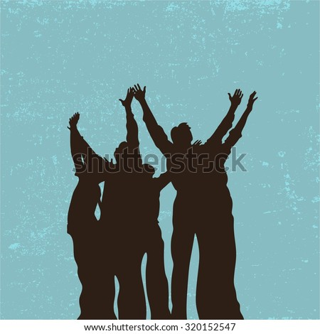 Group prayer, raised hands, praise, worship, silhouettes, people