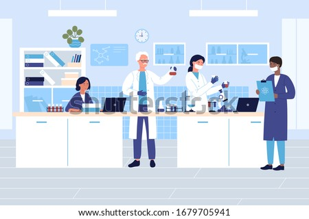 Group scientists in medical or chemical laboratory flat vector illustration. People in protective gloves, masks, lab coats with flasks doing research tests. Drug development, science experiment Stockfoto ©
