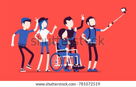 Group selfie and young people. Self-portrait photograph taken with phone stick camera, girl with special needs and friends, inclusion concept. Vector illustration with faceless characters