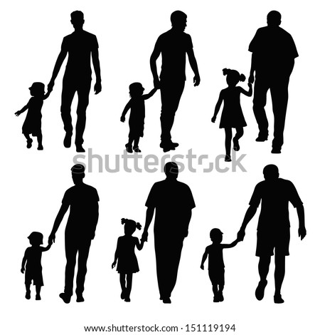 group silhouettes dads and