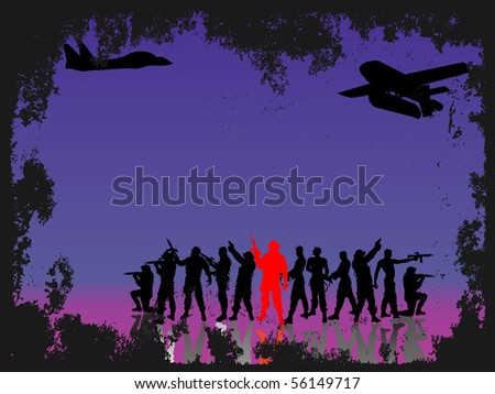group soldiers with shadows-silhouette