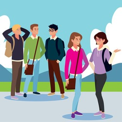 group students talking characters, male and female cartoon outside image vector illustration