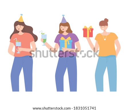 group women with gifts and drink cupps celebrating party vector illustration Stok fotoğraf ©
