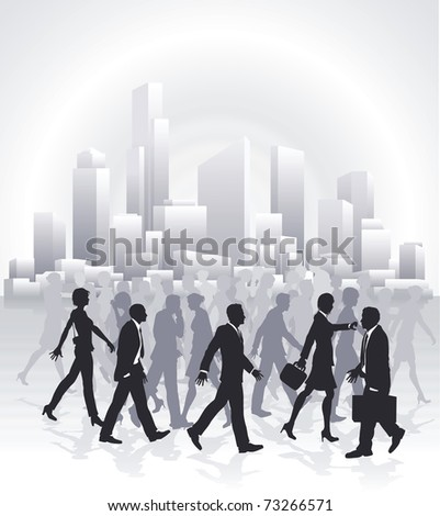Groups of business people rushing in front of city skyline
