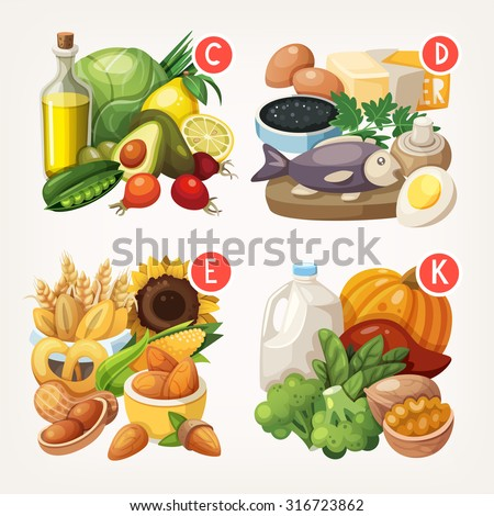 Groups of healthy fruit, vegetables, meat, fish and dairy products containing specific vitamins