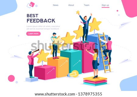 Grow Competition Score icons, simple set. App score, Win points Performance. Conceptual best feedback comment. Work for Satisfaction signs. Feedback Infographic symbols, line score icon. Colorful set