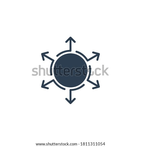 Grow expand spread your company idea influence concept elements icon logo. Arrows in different direction. Stock vector illustration isolated on white background. Foto d'archivio ©