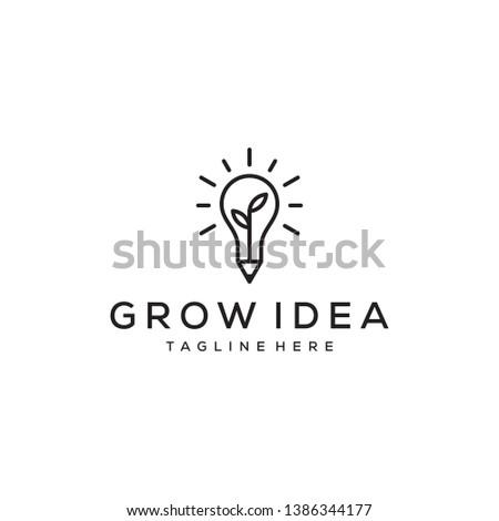 grow idea education concept logo design