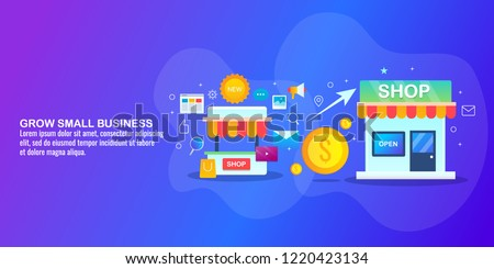 Grow small business - Small business SEO marketing - flat design vector illustration with icons and texts
