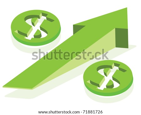 Growing arrow and money signs as Percent symbol.  Finance concept. Vector layered illustration.