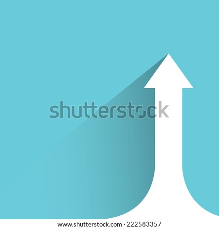 growing arrow chart in blue background, flat and shadow design