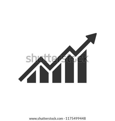 Growing bar graph icon in flat style. Increase arrow vector illustration on white isolated background. Infographic progress business concept.