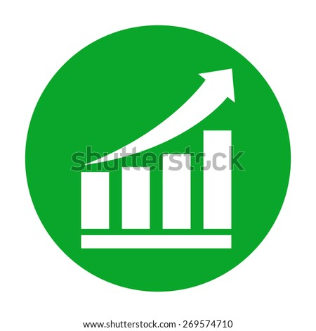 Growing bars graphic icon with rising arrow