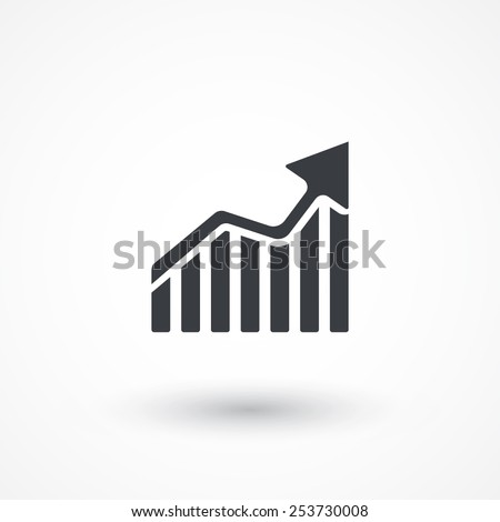 Growing bars graphic icon with rising arrow. Business Chart. Concept Data Design. Economy Diagram. Financial forecast graph. Growing graphic Icon. Infographic Investment Marketing. Profit Report