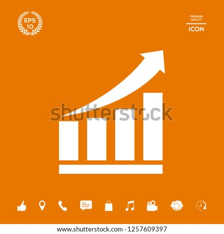 Growing bars graphic icon with rising arrow. Graphic elements for your design
