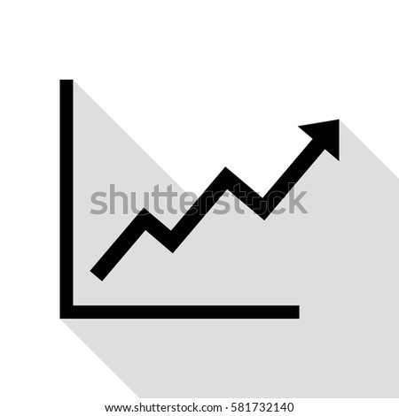 Shutterstock Growing bars graphic sign. Black icon with flat style shadow path.