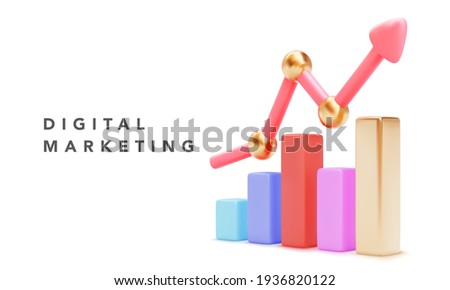 Growing bars graphic with rising arrow. Digital marketing concept banner. Vector illustration