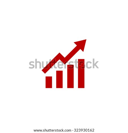 Growing bars graphic with rising arrow. Red flat icon. Vector illustration symbol.