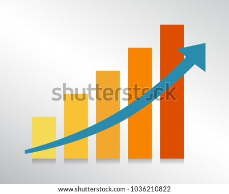 Growing bars graphic with rising arrow. Vector illustration