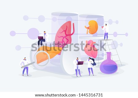 Growing body parts in science laboratory. Great scientific achievement, success Lab-Grown Organs, bioartificial organs, artificial organ concept. Vector isolated concept creative illustration